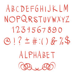 Hand drawn alphabet letters with numbers. Vector illustration