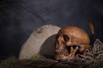 Scary Halloween Skull in a Graveyard