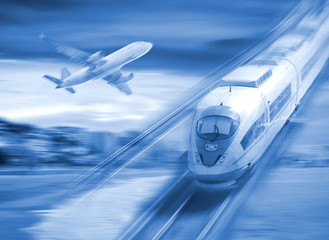 Speed of train and plane traveling