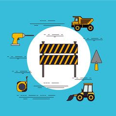 color background circular frame with barricade in black and yellow stripes with tools for construction