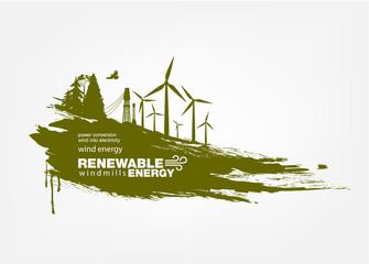 grunge wind turbine Renewable energy