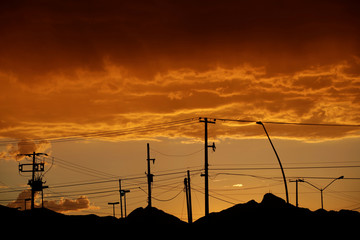 Light poles are pictured after sunset in Ciudad Juarez