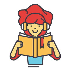 Girl reading book in headphones concept. Line vector icon. Editable stroke. Flat linear illustration isolated on white background