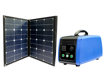 Solar Panel and battery in a portable size for use outdoors, including a trip in the forest or in a place where there is no electricity available. isolated on white background