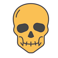 Skull concept. Line vector icon. Editable stroke. Flat linear illustration isolated on white background