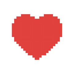 colorful pixelated heart shape in red color