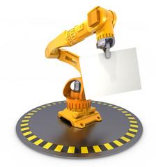 Robot arm holding a sheet of paper, 3D Illustration
