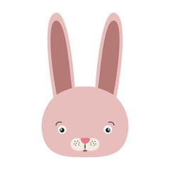white background with colorful caricature face rabbit cute animal