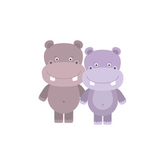 white background with colorful caricature couple cute animal hippopotamus
