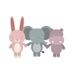 white background with colorful caricature rabbit elephant and hippopotamus cute animals holding hands