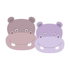 white background with colorful caricature face couple cute animal hippopotamus