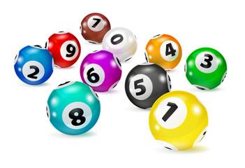 Illustration Colorful Bingo balls lie in random order. Lottery Number Balls. Colored balls isolated. Bingo ball. Bingo balls with numbers. Isolated illustration.