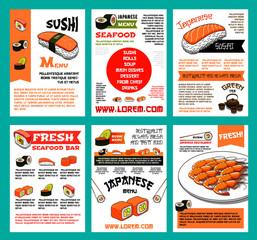Sushi menu template set for japanese food design