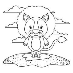 sketch silhouette scene cute lion animal in grass