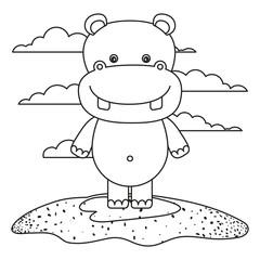 sketch silhouette scene cute hippopotamus animal in grass