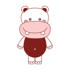 white background with red color silhouette sections of caricature cute hippopotamus animal