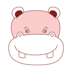 white background with red color silhouette sections of caricature face hippopotamus cute animal