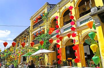 Hoian Ancient town houses. Colourful buildings with festive silk lanterns. UNESCO heritage site. Vietnam