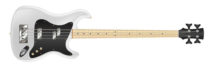 white electric bass guitar on white background