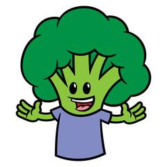 Cartoon Broccoli Character Wearing a T-Shirt