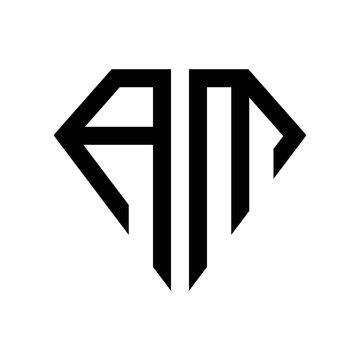 initial letters logo am black monogram diamond pentagon shape