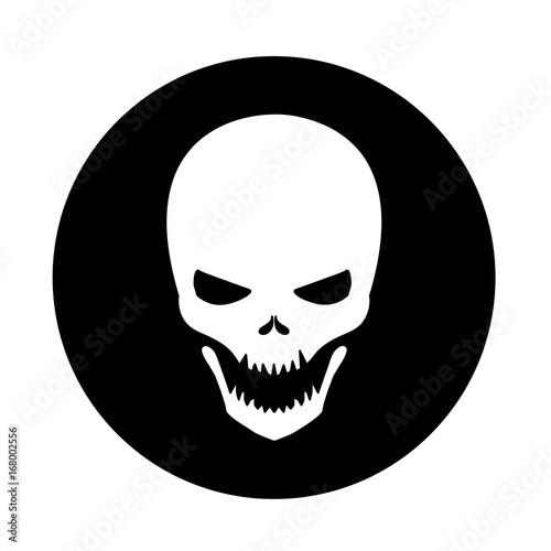 White Skull Icon, a vector symbol of a skeleton skull on a black