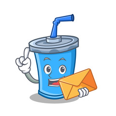 With envelope soda drink character cartoon