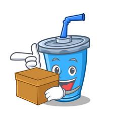 soda drink character cartoon with box