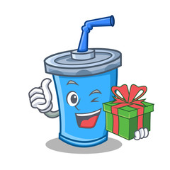 soda drink character cartoon with gift