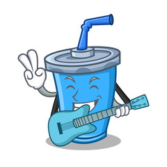 soda drink character cartoon with guitar
