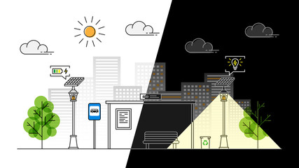Sun energy sidewalk day and night vector illustration. Urban streetlight with solar panel to generate electricity line art concept. Street lantern technology on the pavement graphic design.