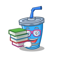 Student with book soda drink character cartoon