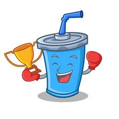 Boxing winner soda drink character cartoon