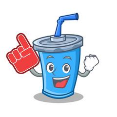 soda drink character cartoon with foam finger