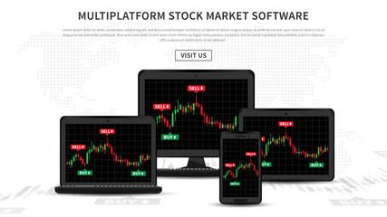 Multiplatform stock market software vector illustration. Application for investment and online trading for desktop, laptop, tablet, smartphone.