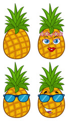 Pineapple Fruit With Green Leafs Cartoon Drawing Simple Design Series Set 2. Collection Isolated On White Background