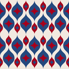 Seamless retro background in modern ikat pattern usa color style fashion
