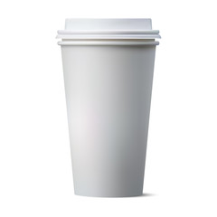Realistic coffee paper cup with blank space