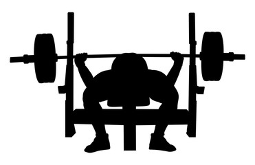 athlete powerlifter bench press black silhouette