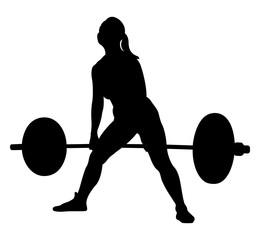 woman athlete powerlifter exercise deadlift black silhouette