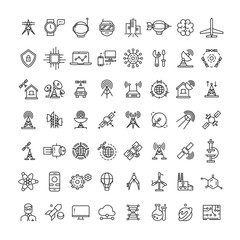 Science, technologies and satellite line icons collection