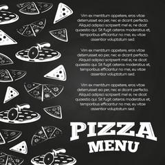 Chalkboard pizza menu poster - fast food banner design