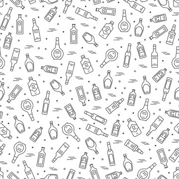 Alcoholic drinks bottles seamless pattern