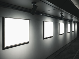 Mock up Frame on wall with lighting Art Gallery display indoor