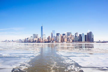 Climate change NYC. Frozen hudson river. Arctic blast. Polar vortex.