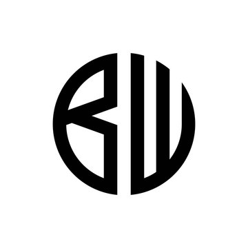 initial letters logo bw black monogram circle round shape vector