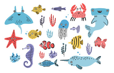 Wall Mural - Sea life set. Hand drawn algae, blowfish, jellyfish, crab, hammerhead shark, whale, starfish, shark, seahorse, manta ray, narwhal. Colorful vector illustration collection.
