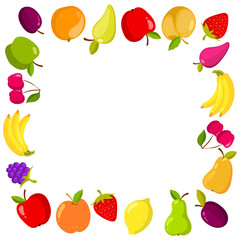 Vector square banner with fruits