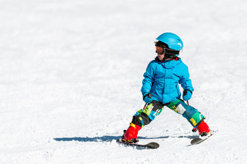 Little boy skiing
