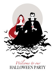 Couple of vampires on a cloud of bats holding red wine glasses